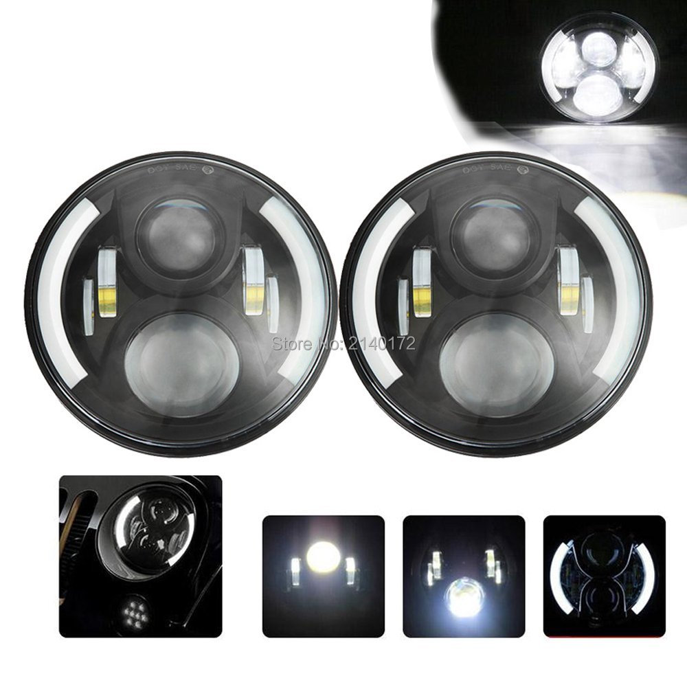 7 INCH Round LED Projection Headlight H4 H13 with Amber turn signal DRL Angel Eyes for