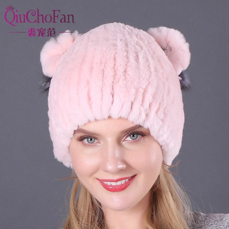 Winter Rex Rabbit fur Cute Cat Ears Cap With Sequins Warm Winter For Women Real Natural Rabbit Fur Vertical Weaving Winter Hat