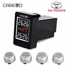 CAREUD U912 Inalámbrico para Coche Sistema de Monitoreo de Presión de Neumáticos TPMS con 4 Sensores Externos Pantalla LCD Monitor Integrado Para Toyota
