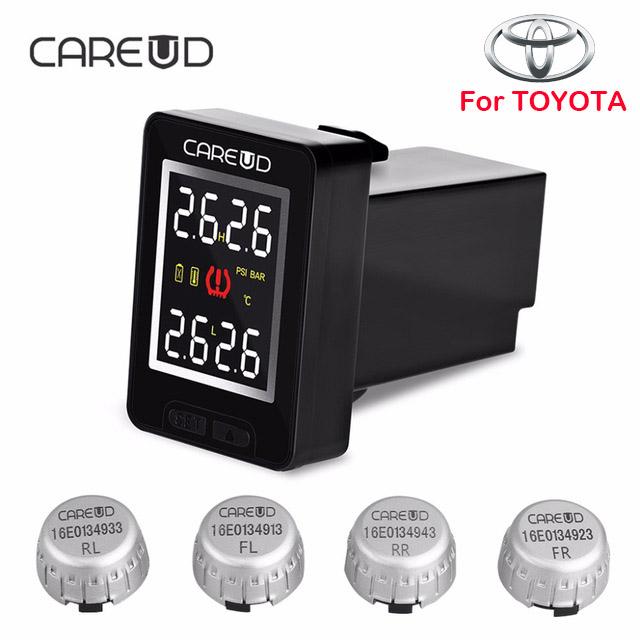 Prix pour CAREUD U912 Voiture Sans Fil Système de Surveillance de Pression DES Pneus TPMS avec 4 Capteurs Externes Écran lcd Intégré Moniteur Pour Toyota