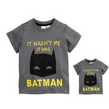 Casual Toddler Baby Boy Girls Batman Short Sleeve  T-Shirt  Cotton Tops  Kids Clothes Grey