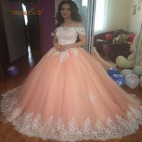 Blush Quinceanera Dresses Long Ball Gown Short Sleeves Appliques Tulle Sweet 16 Dresses Prom vestido debutante Quinceanera 2019