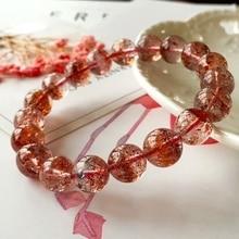 Genuine Natural Lepidocrocite Quartz Red Super 7 Crystal Rare Women Man 10.5mm Round Beads Stretch Bracelet AAAAA Certificate