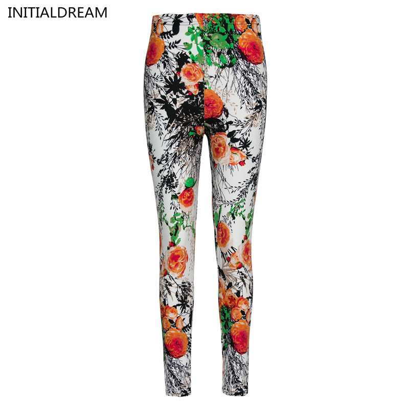 INITIALDREAM Brand Flowers Printed Elasticity Leggings Fashion Chinese Style Women Printing Pant Leggins Ankle-Length Female