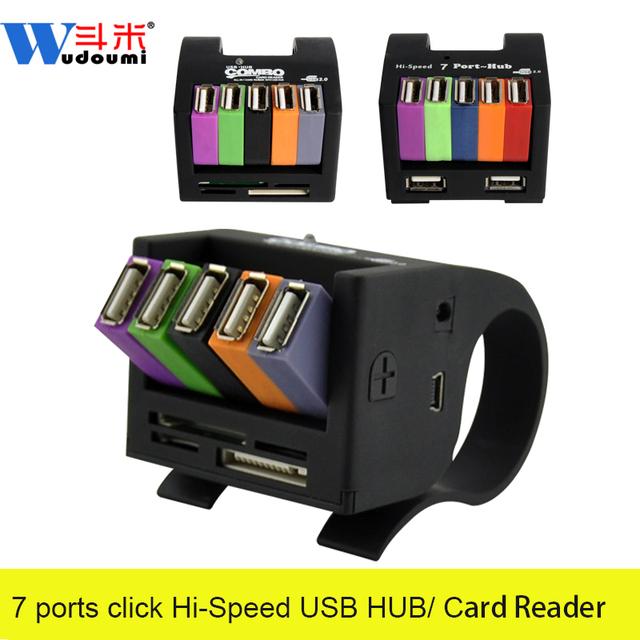 Clip diseño todo en uno lector de tarjetas 7 Puertos USB 2.0 HUB combo velocidades de transferencia de hasta 480 mbps mini usb hub para apple mac pc portátil