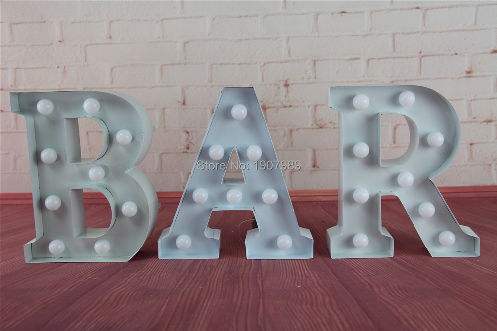 """White Metal Letters New 9"""" White Metal Letters Light Led Alphabet Marquee Sign Vintage Review"""