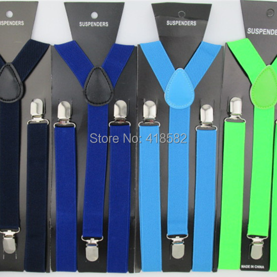 BD001--100pcs/lot Adult Suspenders Adjustable Elastic 3 Clips-on Y-Back Braces For Women And Men 32 Colors DHL Fast Delivery