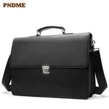 PNDME высококачественный деловой мужской портфель из натуральной кожи черного цвета, Повседневная простая сумка для ноутбука, Офисные Сумки через плечо