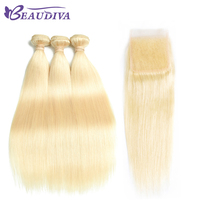 Beaudiva Peruvian Remy Hair Straight Hair 3 Bundles With Closure 613 Blonde Color Hair Human Hair