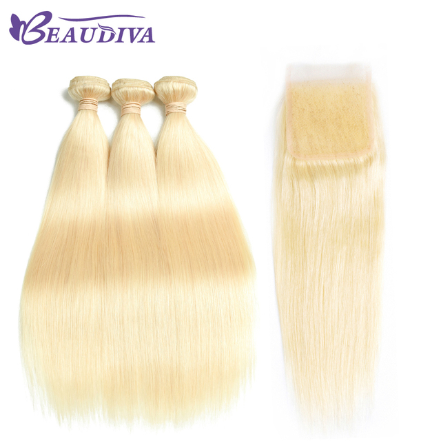 Beaudiva Peruvian Remy Hair Straight Hair 3 Bundles With Closure 613 Blonde Color Hair Human Hair With 4x4 Closure Free Shipping