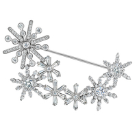 Fashion Snowfall Snowflake Zircon Brooch for Women Cute Cloth Accessories Charm Pins Wedding Party Fine Jewelry Christmas Gift