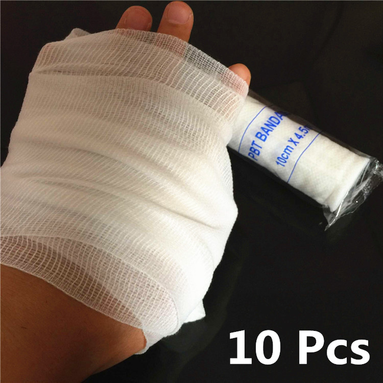 10Pcs/lot Laster Bandages Medical Grade Sterile First Aid Wound Care Cotton Ply Stretched Gauze Bandage Rolls Wholesale