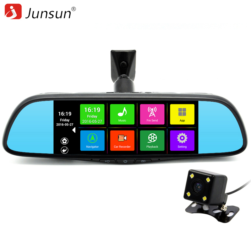 "Junsun 7"" Touch Special Car DVR Camera Mirror GPS Bluetooth 16GB Android 4.4 Dual Lens Full HD 1080p Video Recorder Dash Cam"