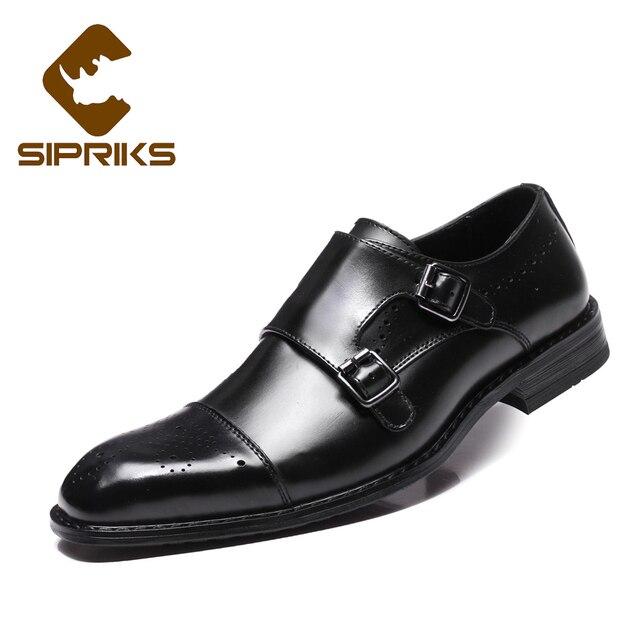 Hebilla Strao Sipriks De Negros Para Marrón Zapatos Mens Doble Cuero Formales Hombre Monje 7fYbgvy6