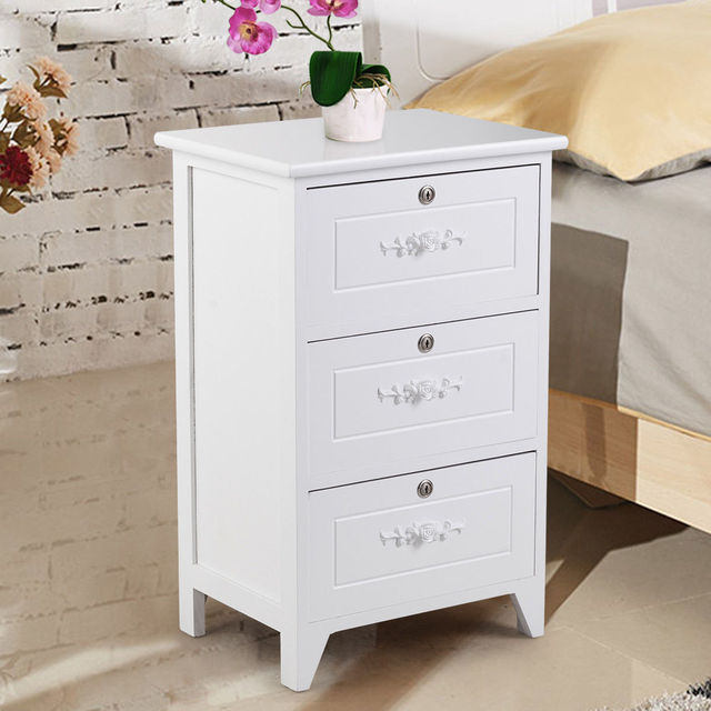 Giantex Modern Wood Nightstand Bedroom End Beside Table with 3 Drawer  Storage Organizer White Home Room Furniture HW56018WH-in Nightstands from  ...