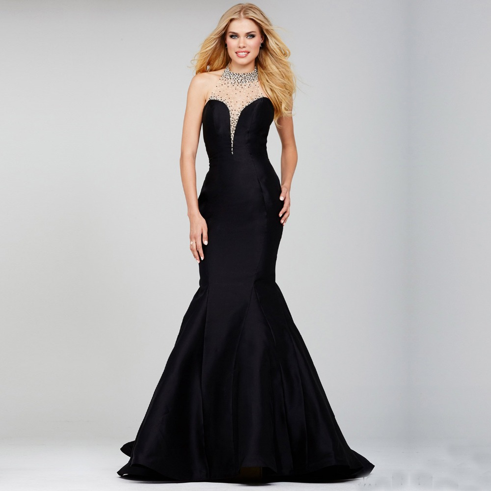 Wedding Formal Evening Dresses popular black formal evening dress buy cheap robe de soiree elegant gowns sexy halter backless mermaid with beads