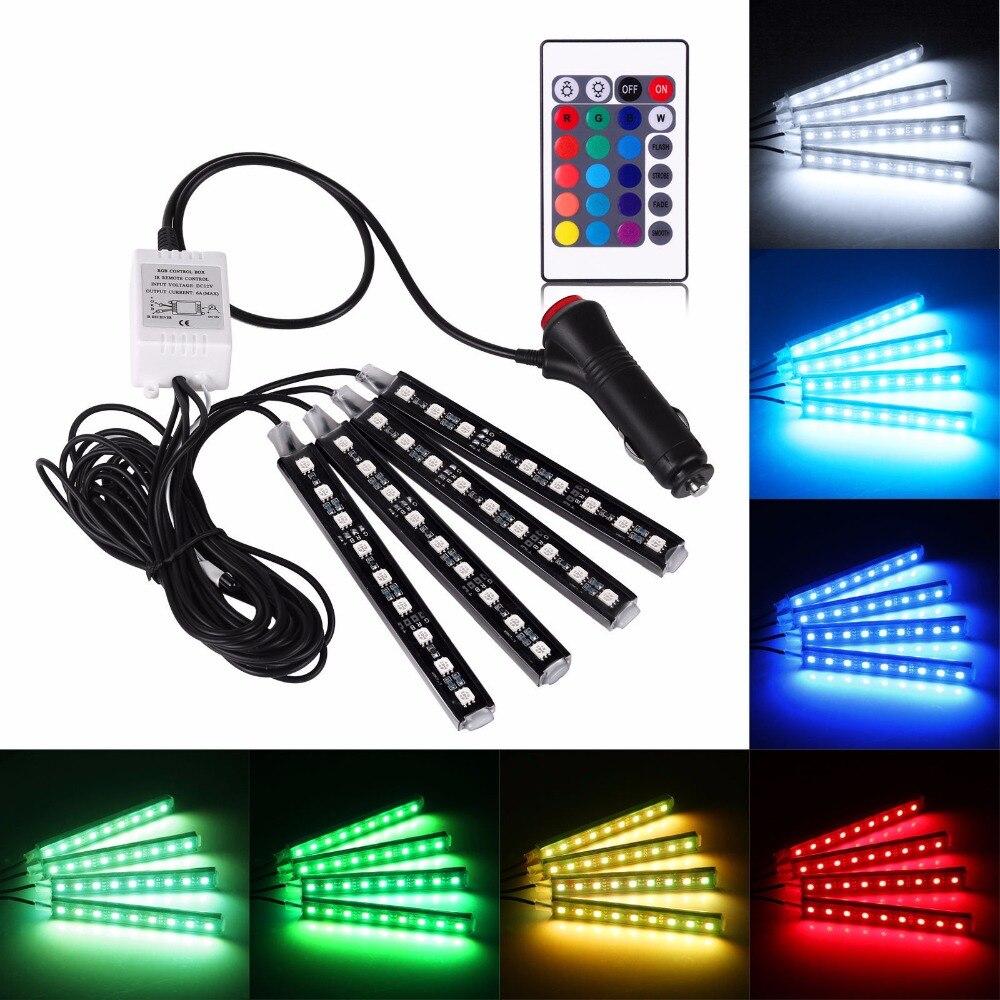 4 unids coche RGB LED tira luces LED tira colores coche estilo decorativo atmósfera Lámparas coche luz interior con remoto
