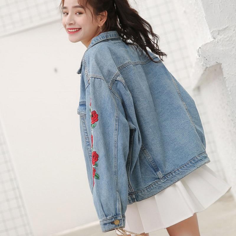 2018 Spring bomber Jeans Jacket Women Punk Black Rose Embroidered Denim  Jacket Ladies Basic Coats autumn Vintage cotton outwear-in Basic Jackets  from ...