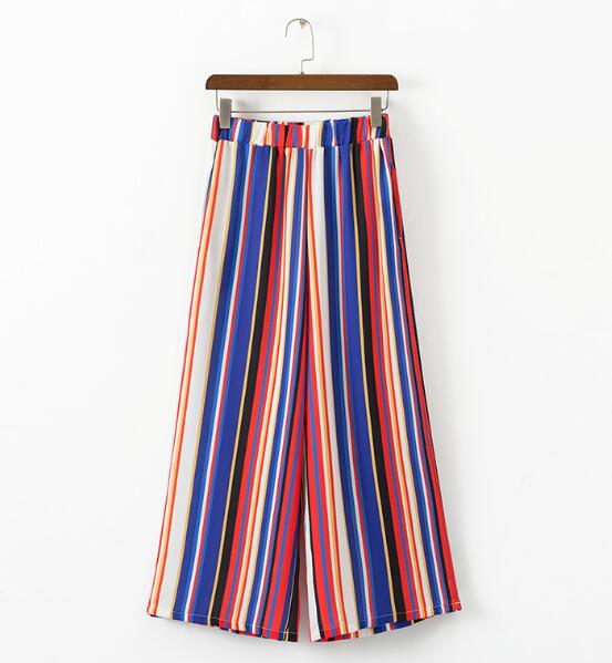 Chic Rainbow Colored Striped Print Wide Leg Pants 2018 Woman Elastic High Waist Ankle-Length Casual Loose Trousers 2