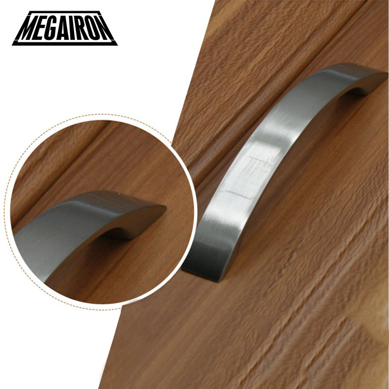 MEGAIRON Aluminum Alloy Door Knobs and Handles Kitchen Drawer Wardrobe Cabinet Cupboard Pull Handle 96-160mm Silvery Color Pulls furniture handles wardrobe door pulls dresser drawer handles kitchen cupboard handle cabinet knobs and handles 64mm 96mm 128mm