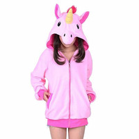 SAMGU Cartoon Unicorn Hoodies Long Sleeve Zipper Outerwear Jacket Sweatshirt Dinosaur Flannel Hooded Pajamas For Unisex