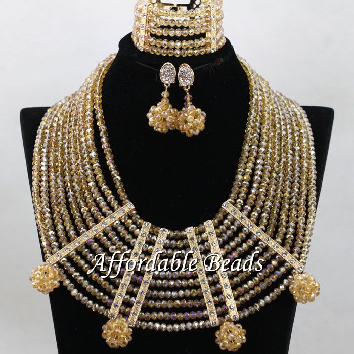 Gold Nigeria Beads Best Selling African Wedding Set New Arrival Style Wholesale ABC086Gold Nigeria Beads Best Selling African Wedding Set New Arrival Style Wholesale ABC086