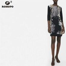 ROHOPO Half Sleeve Retro Straight Dress Vintage Black Metal Chain Printed Ladies Vogue Vestido #XZ1894