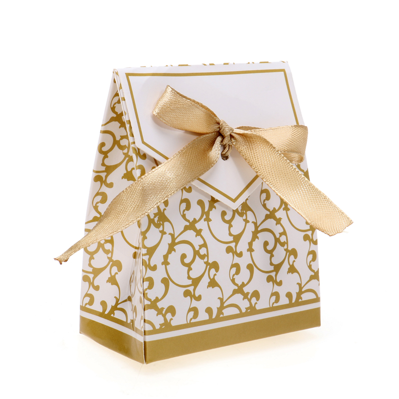 Wedding Favour Gift Bags: 50Pcs New Luxury Gold Gift Bag Candy Box Cases Wedding