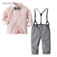 Boys Long Sleeve Contrast Shirt Bib Pants Gentleman Set Baby Gentlemen Outing Service Holiday Dress kids clothes