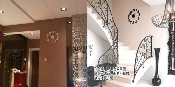 Wall clock Home Decorate & Accents DIY Adhesive Wall Clock DIY clock Free shipping