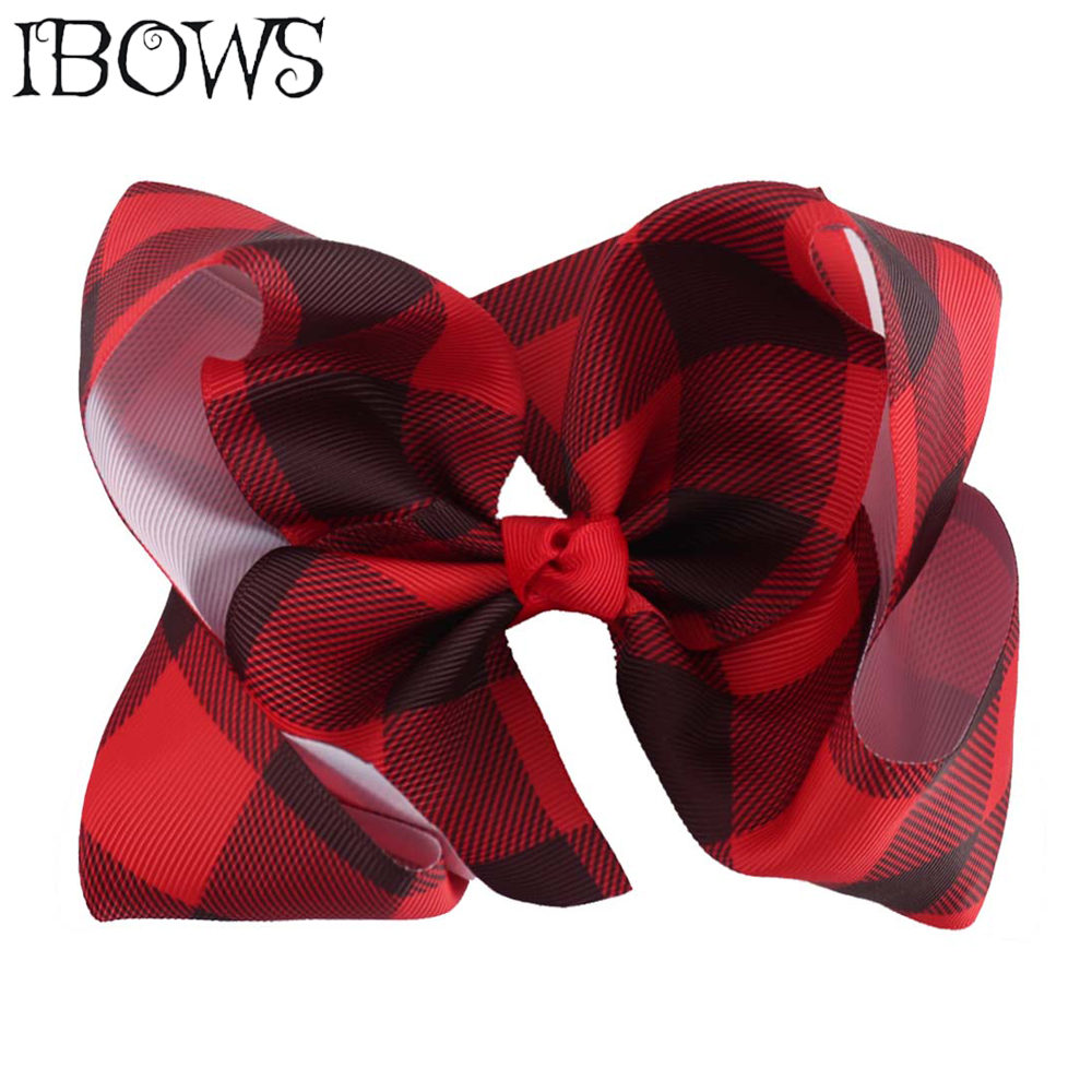 6 Inch Printed Red Plaid Hair Bows With Hairgrips For Girls Ribbon
