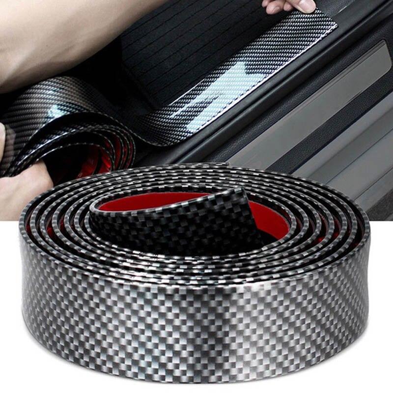 Hot 5D Car Sticker Carbon Fiber Rubber Styling DIY Sill Bumper Sticker For Auto Accessories JLD