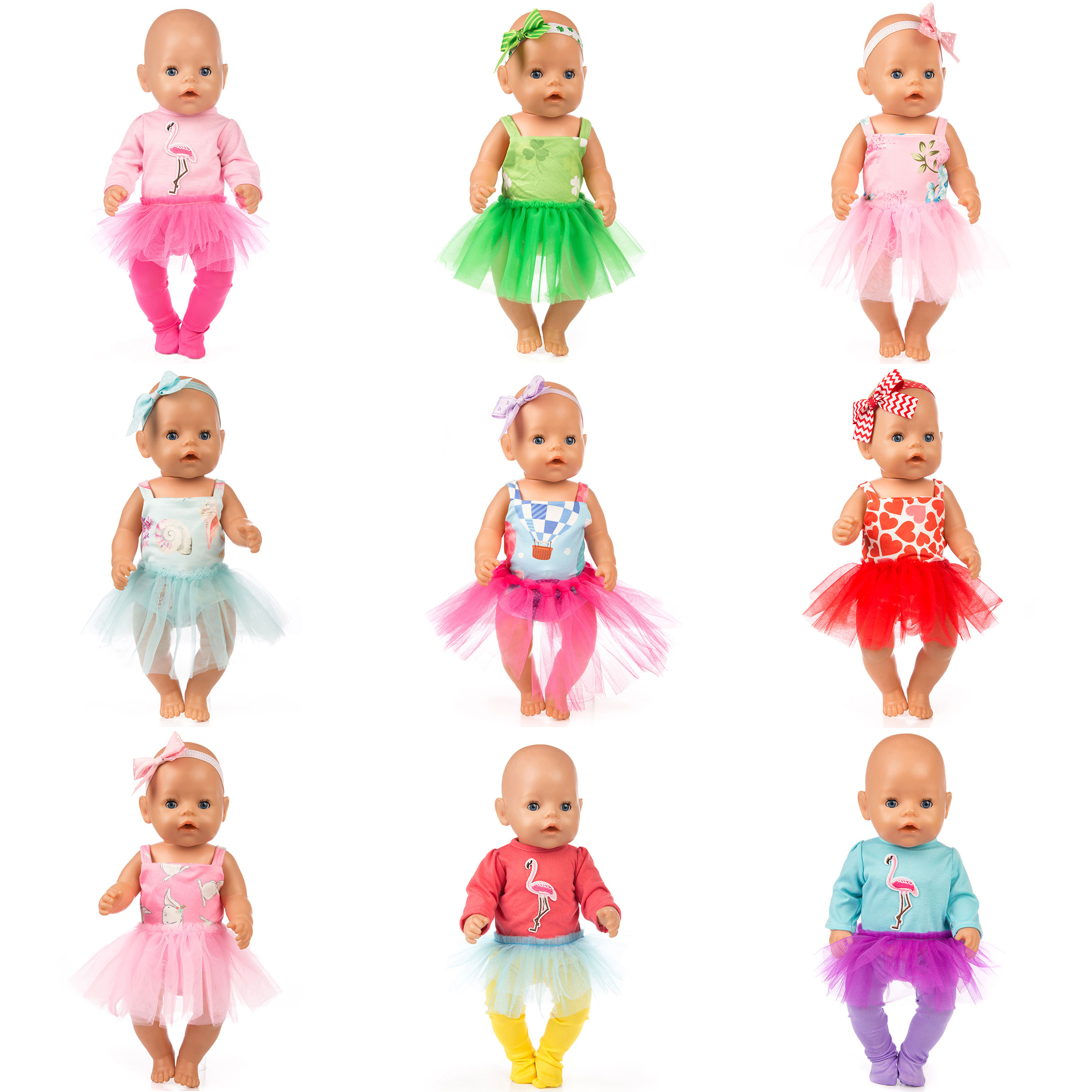 New Doll Clothes Wear Fit For 43cm Zapf Baby Doll, 17Inch Born Dolls Accessories.