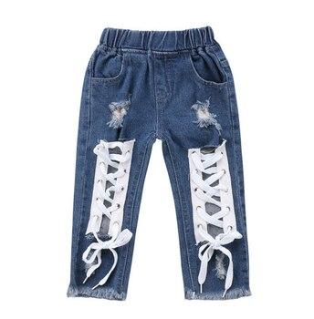 أزياء طفل الاطفال طفل رضيع الفتيات ملابس السراويل الجينز ضمادة الدنيم السراويل الجينز السراويل الطويلة فتاة 1-6 طن