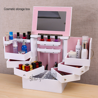 Jewelry Makeup Cabinet large storage drawers type cassette deck with Cosmetic Mirror Box Storage Boxes 1pc