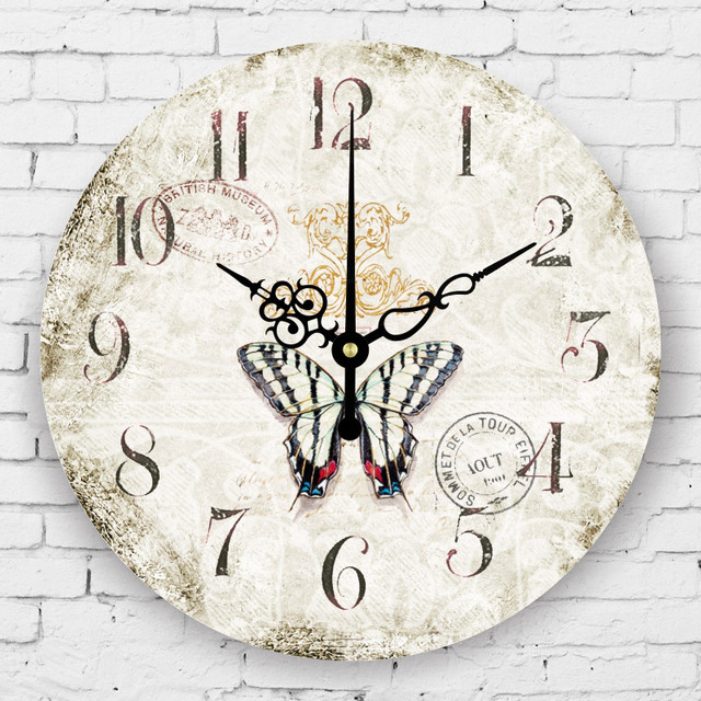 Vintage Living Room Decoration Watch Wall Mediterranean Style Bedroom Decor Watches Large Decorative Silent Clock
