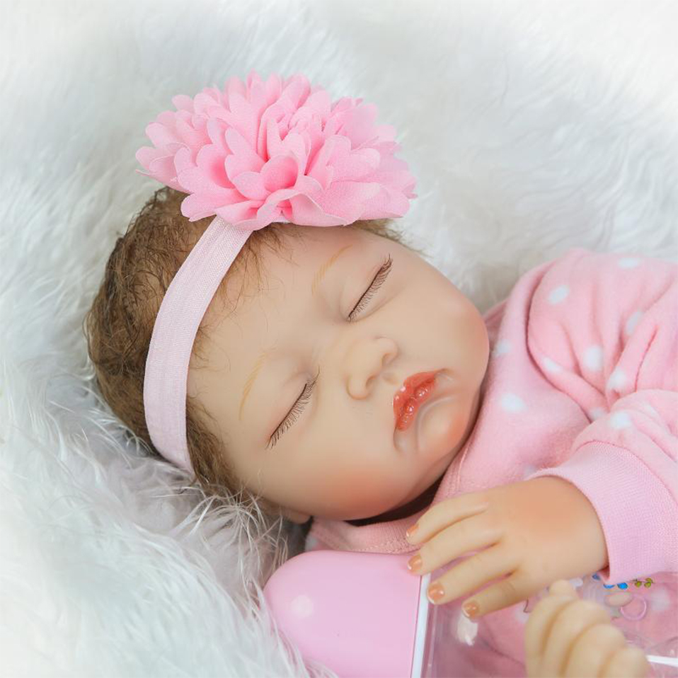 Personality Gift Doll Reborn Baby LIfelike Sleeping Girl Dolls Pretty Toys For Children 22inch good to cary Flower Headdress short curl hair lifelike reborn toddler dolls with 20inch baby doll clothes hot welcome lifelike baby dolls for children as gift
