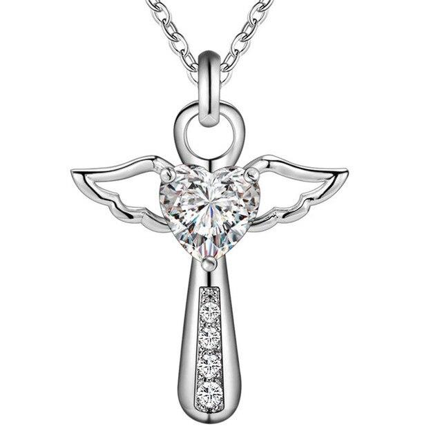 Jesus Cross Love angel heart wing silver Pendant Necklace