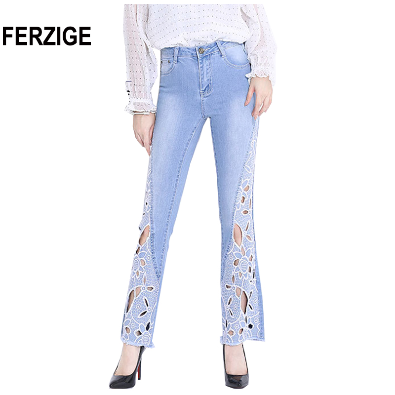 FERZIGE 2018 Autumn Newly Women Jeans High Waist Stretch Flare Pants Embroidered Floral Hollow Out Sexy
