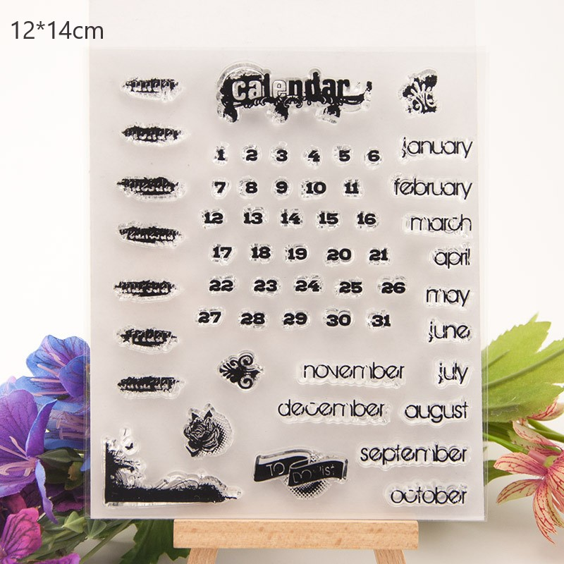 LGOGO Alphabet Clear Stamps Numbers Date Calendar Stamp Alphabet