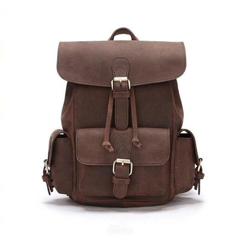 Kundui 100% натуральная кожа Для женщин рюкзаки Crazy Horse натуральной школы Gril ремень ежедневно ретро рюкзак Одежда высшего качества ручная сумка