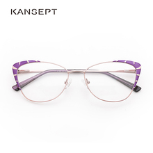 Metal Glasses Frame Women Purple Fashion Eyeglasses Spectacles Cat Eye  Glasses Frame For Women 2019 New Model#TF2199C3
