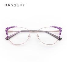 Metalowe okulary ramka kobiety fioletowe modne okulary okulary oprawki do okularów kocie oczy dla kobiet 2019 nowy Model # TF2199C3