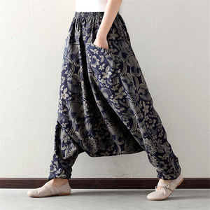 Image 5 - Women Boho Harem Pants Loose Oversized Blended Cotton Streetwear Hip Hop Dance Trousers Ethnic Print Hippie Pant