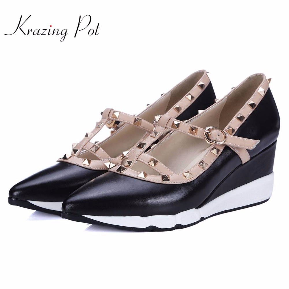 New Shoes women fashion pointed toe platform wedges rivets high heels buckle straps runway pumps brand wedding casual shoes L5f3 цена