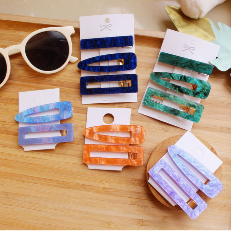 Korea 2019 New Trendy Green Blue Acetic Acid Resin Acrylic Hollow Square Drop Hair Clips For Women Hair Accessories Hairpins