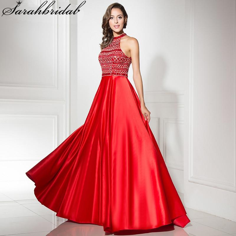 Luxueux jamais jolie robes De soirée une ligne Sexy dos haut col perles cristal robes De bal Robe De soirée LSX317