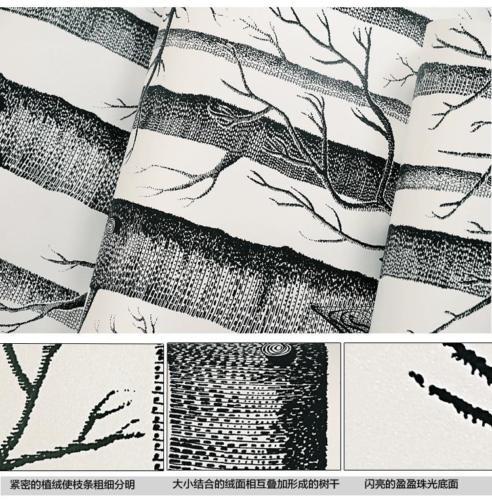 Купить с кэшбэком Q QIHANG 10m Modern Minimalist Tree Pattern Non-woven Wallpaper Roll Black&white 5.3m2