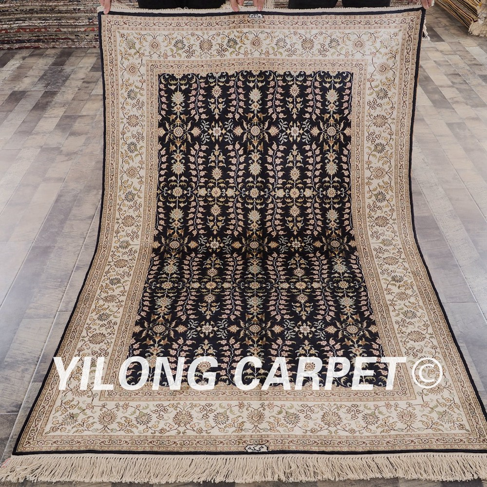 Persian Rugs For Sale: YILONG 4'x6' Traditional Hand Knotted Silk Carpet Blue