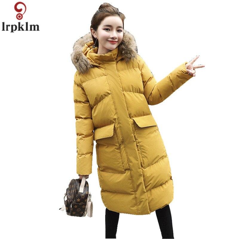 Solide Veste D'hiver Femmes Manteaux Longs Femme Coréenne Coton Parkas À Capuchon D'hiver Manteau Poches Chaud Femmes Vêtements CH616